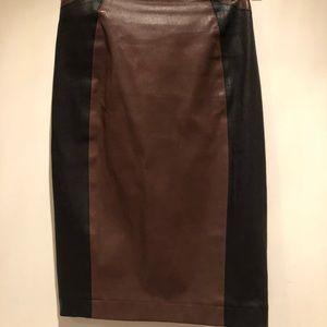 Leather Veronica Beard 2 tone pencil skirt.